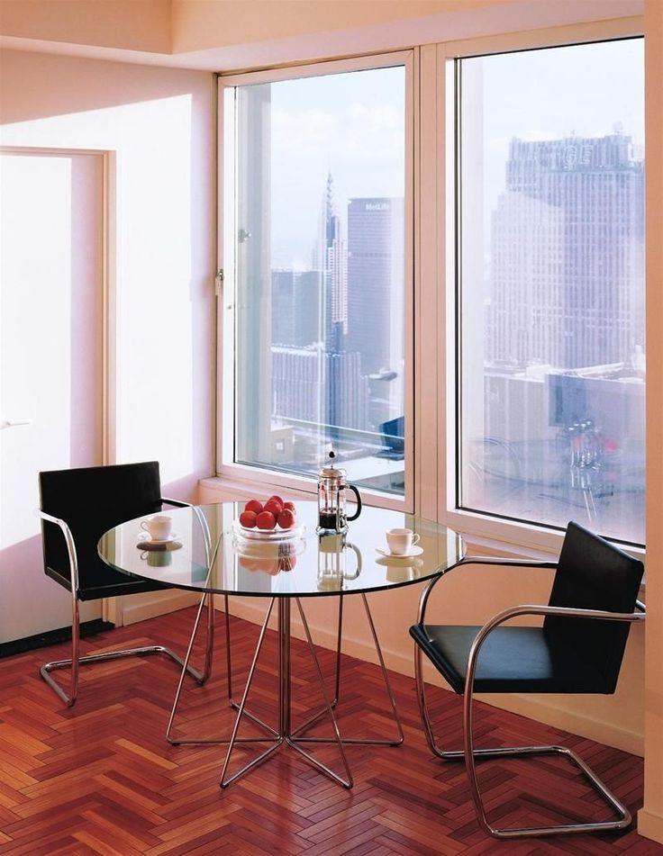 Tavolo rotondo moderno in vetro - PAPERCLIP by Massimo & Lella Vignelli - Knoll international