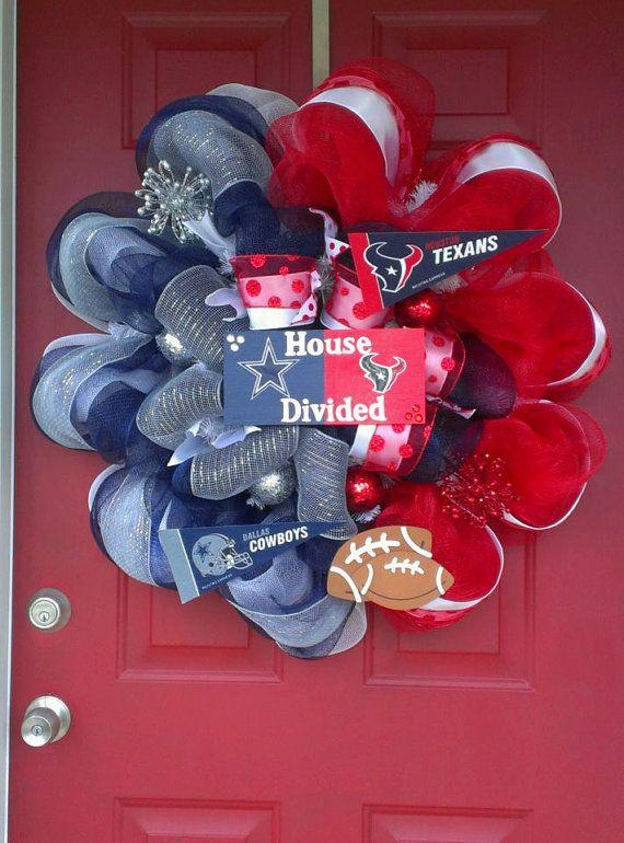 Houston Texans/Dallas Cowboys Deco Mesh Wreath by WorldofWreaths, $105.00...OMG I NEEEEEEED This!
