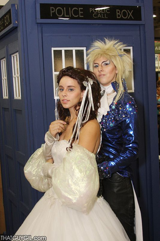 A Labyrinth cosplay in front to the TARDIS. It doesn't get any better than this!
