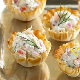 Phyllo Cup Crab Appetizers with Cream Cheese - The Gardening Cook.  These sound so good.