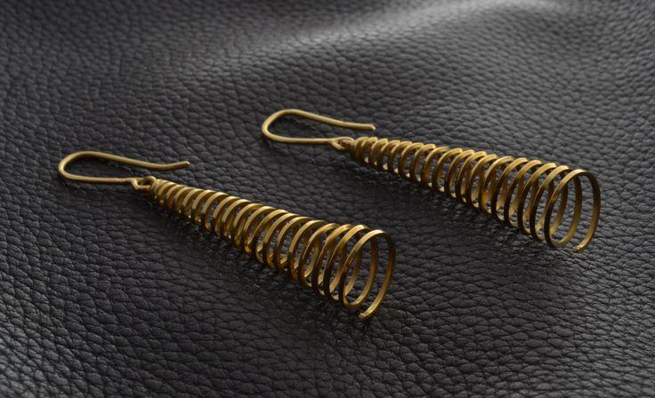 Spiral Gold Earrings Handmade by ViazisJewelry on Etsy