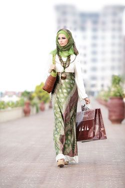 green and gold hijab