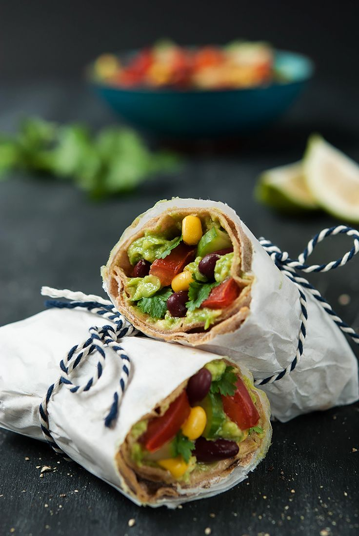 Vollkorn-Wraps mit Tex-Mex-Füllung - Whole wheat wraps with tex-mex-filling