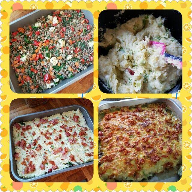 Alt godt fra køleskabet.  Oksefars med diverse grønsager og krydderier.  Kartoffelmos med ost, forårs løg og så lidt bacon på toppen. :)