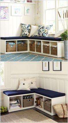 Lassen Sie eine Eckdoppelaufgabe in Form einer Bank mit Sitzgelegenheit und Lagerung.