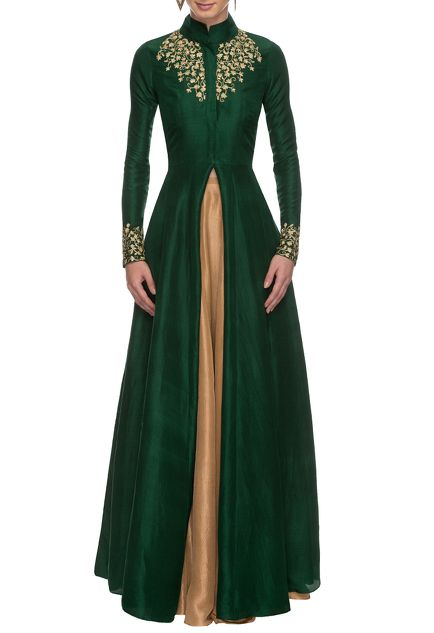 Emerald green and golden embroidered jacket lehenga
