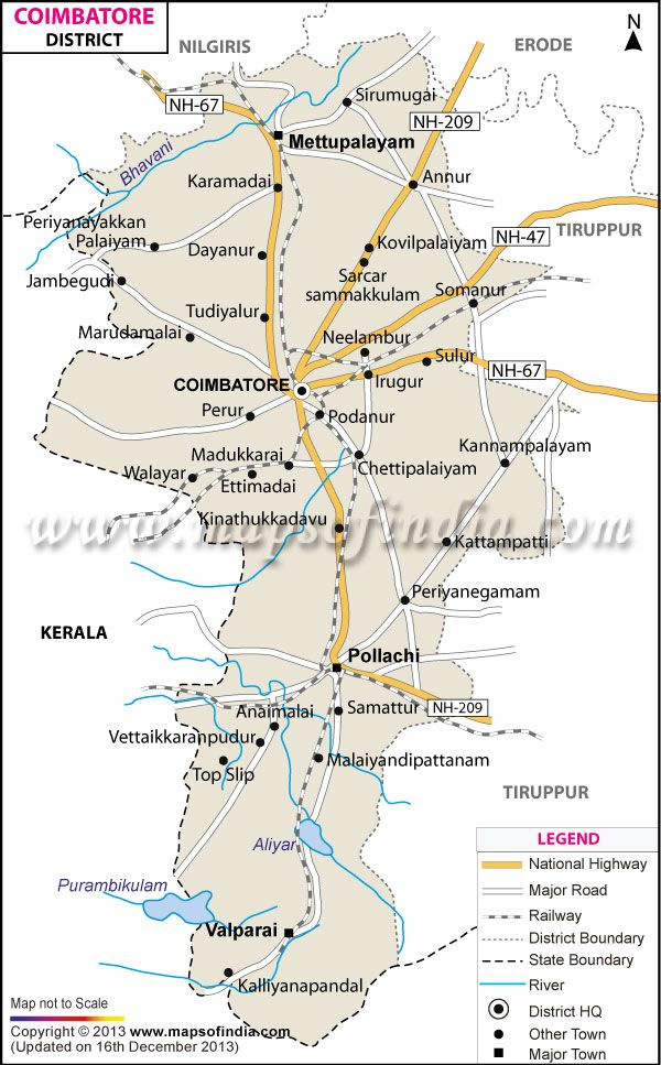 District Map of Coimbatore