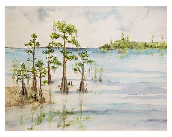 Southern Beach Swamp Watercolor Artwork Beach Art Wall Art