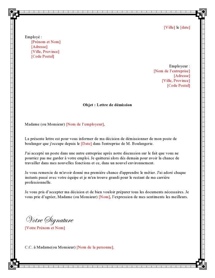 exemple lettre de demission pour boulanger
