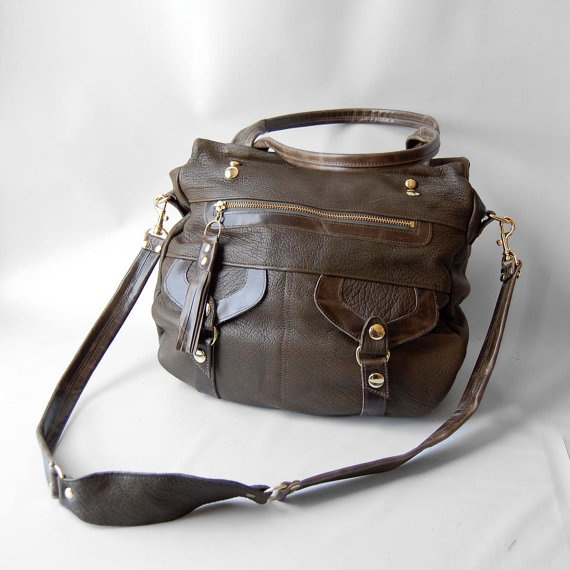 SALE  Onishi leather bag in army/olive  FREE by valhallabrooklyn, $249.00