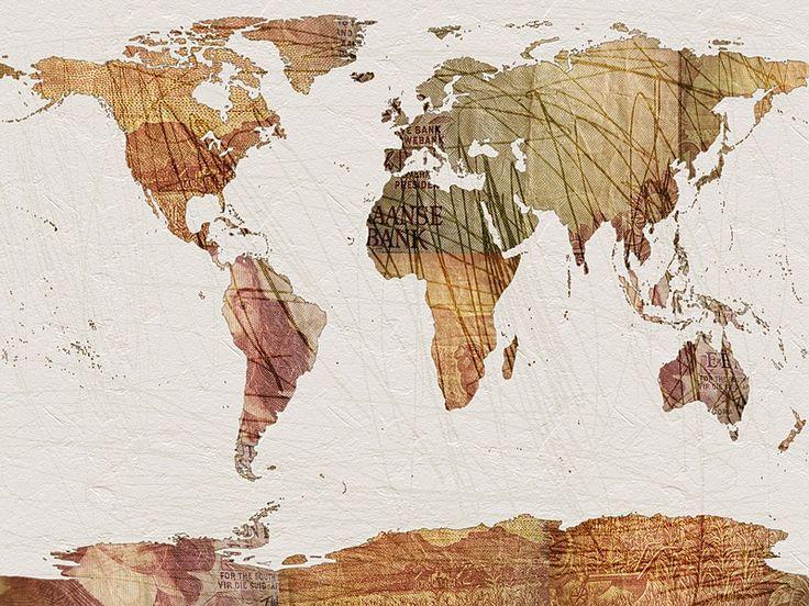 World Map Vintage Currency - art prints by André Pillay on www.digitalgallery.co.za  #maps #art   #printWild  #southafricanart  #mapart #travel  #design