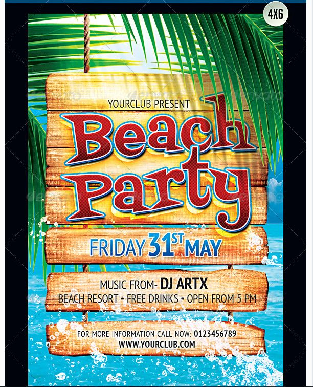 50 best Beach Party Flyer Templates an Awesome Collection of Summer