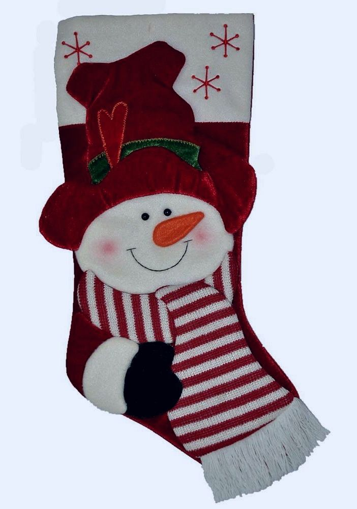 Red Top Hat Snowman with Green Mitten. Red and Off White Striped Scarf. 3D Detailed Appliques. Material: Polyester. | eBay!