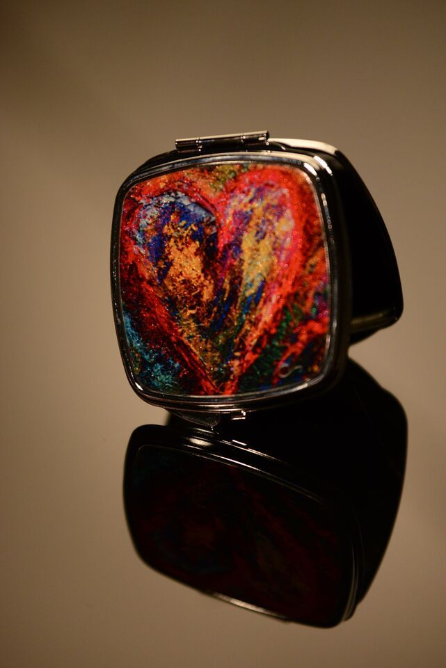 Heart 1 Square Compact Mirror ChristieSmithArt