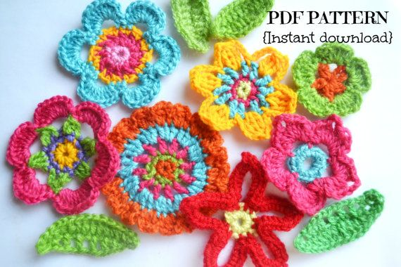 Crochet flower pattern flowers and leaves by Thehobbyhopper