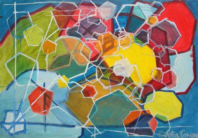 #four #women #nina #simone #oilpainting #SofiaTsimini #geometric
