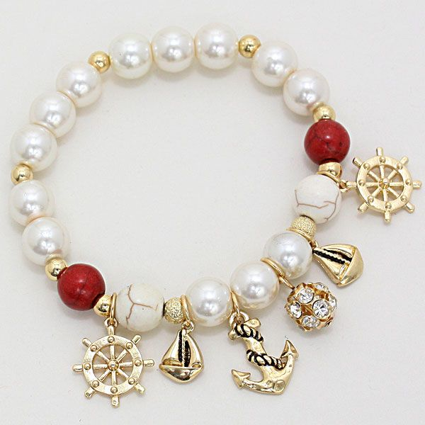 Nautical Charm Pearl Stretch Bracelet 232555
