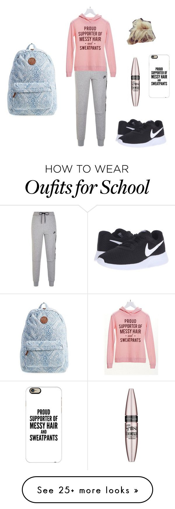 """school day"" by lkr82203 on Polyvore featuring NIKE, Maybelline, Casetify and Billabong"