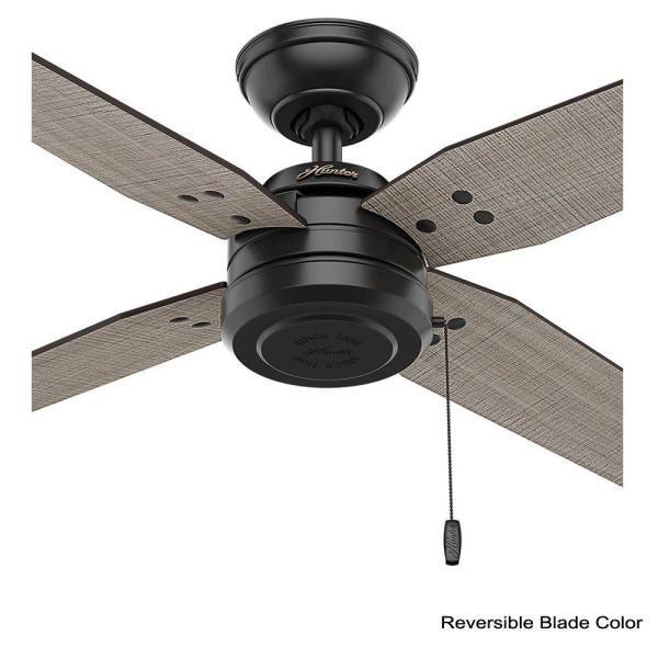 hunter commerce 44 in indoor outdoor matte black ceiling fan 59636 the home depot fans without lights 300 cfm bathroom exhaust