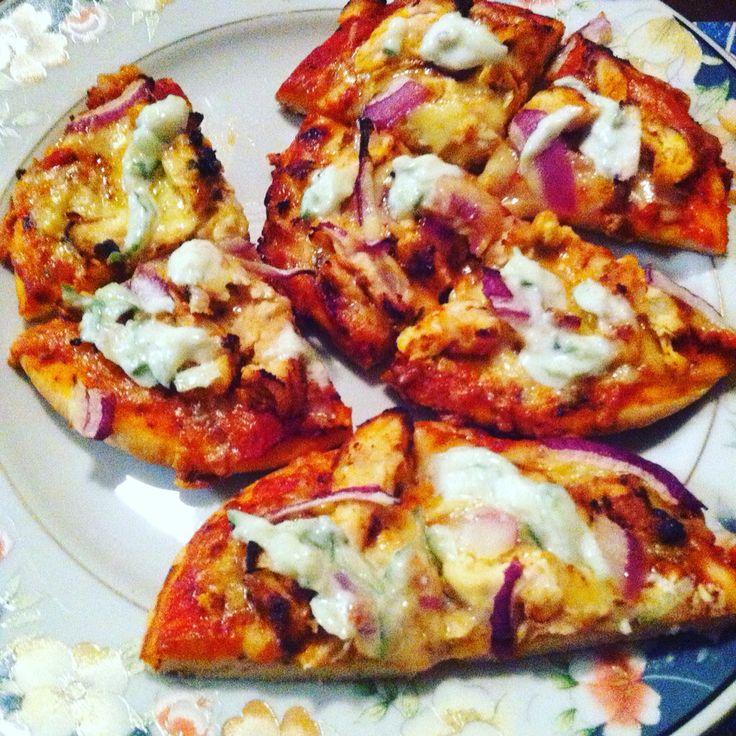 Tandoori pizza with homemade Raita thanks to The Flavour stack www.rebeccastanbury.theflavourstack.com