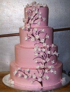 Pink Cherry Blossom CakeWhite Cake, White Wedding Cake, Pink Wedding Cake, Cake Ideas, Tiered Cake, Wedding Cakes, Cherries Blossoms Wedding, Wedding Theme, Cherry Blossoms