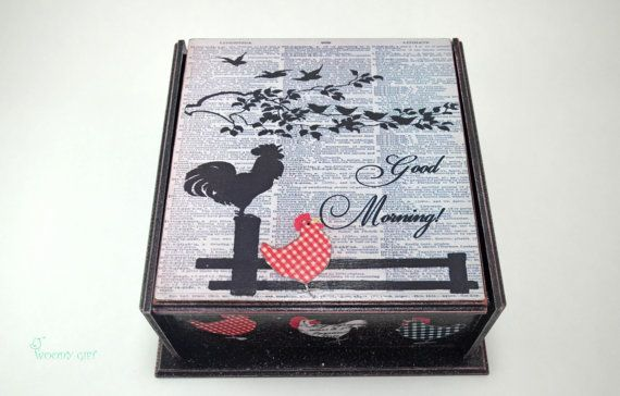 """Welcome to Woody Gift! We offer only UNIQUE HANDMADE ITEMS!  Charming Wooden Tea Box """"Good morning"""". Will give warm and comfortable atmosphere to your"""
