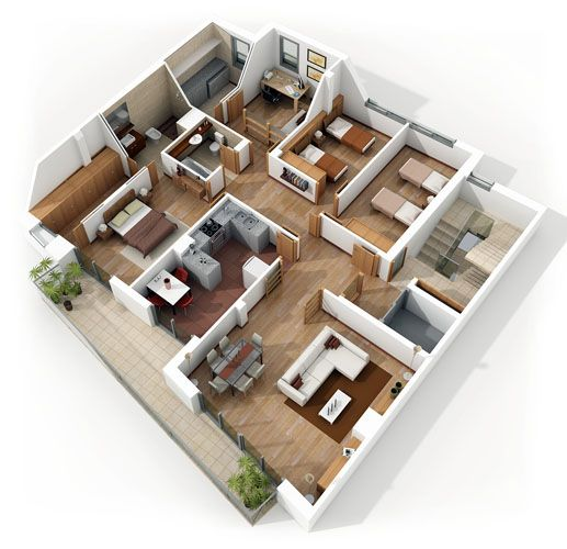4 bedroom apartment house plans best free home design idea inspiration - 3d Plan House