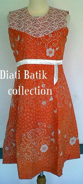 Hand-written batik, modern style made from traditional batik Indonesia process. Orange dress batik