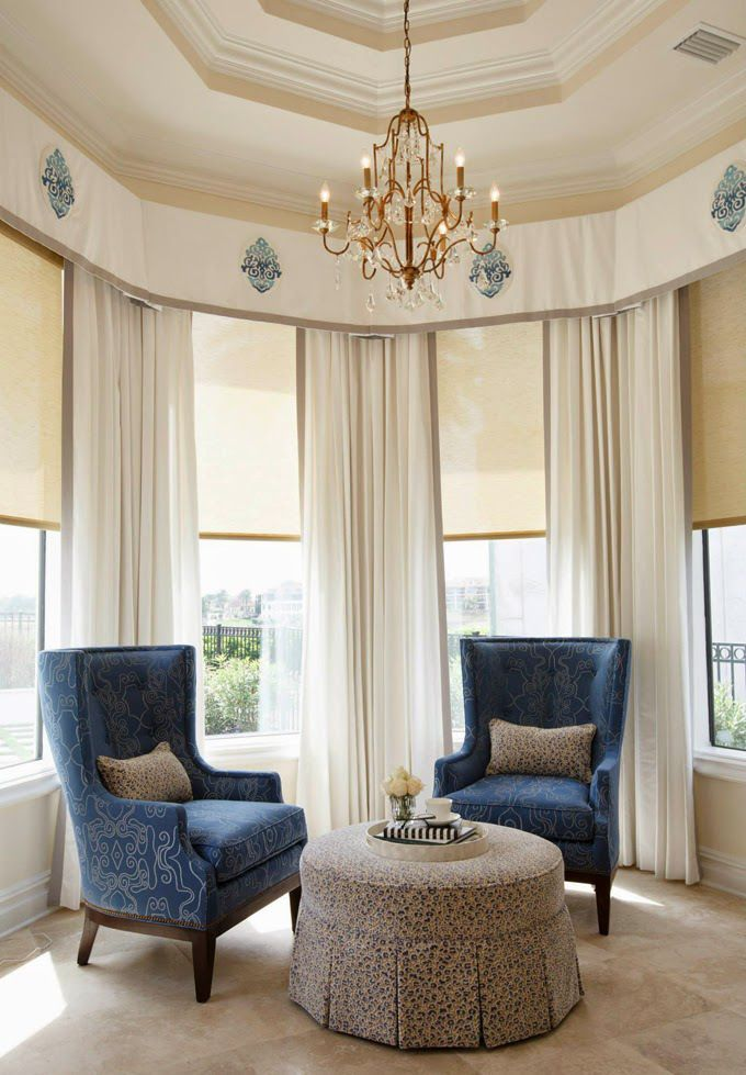 Banded panels and valances with medallion detail