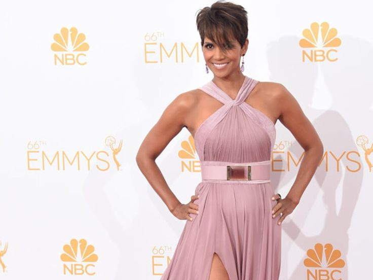 killed it. Halle Berry's Emmys Dress -- Stuns In Sexy Thigh High Slit