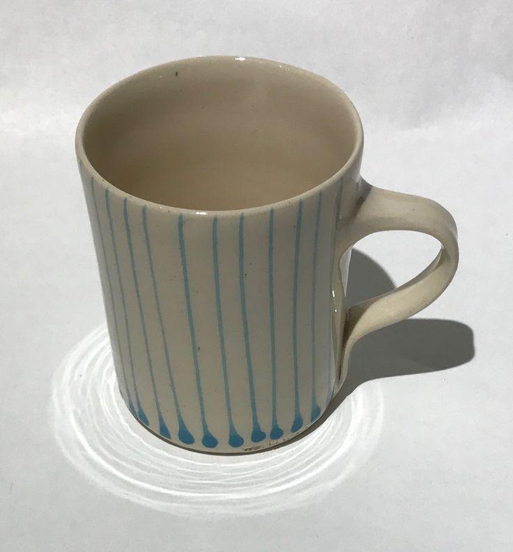 Wonki Ware Thin Stripe Mug Turquoise@JaneMcIntyredesigns