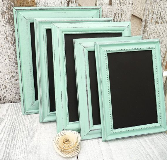 10 MINT SHABBY CHIC Wedding Chalkboard Frames, Table Numbers, Up-cycled Picture Frames
