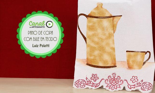 Pano de copa com bule em tecido - Luiz Poletti