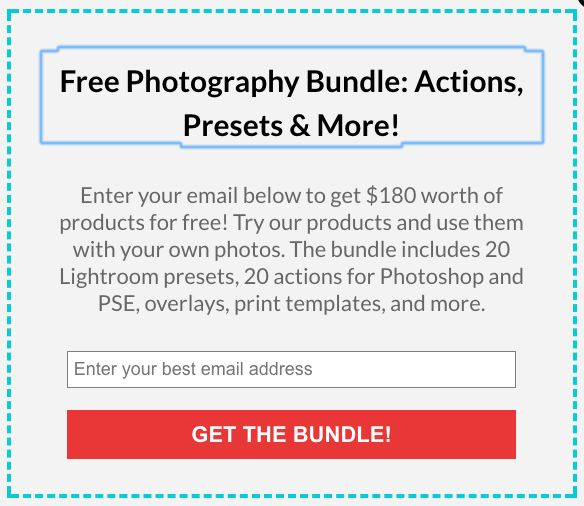 Free Photo Editing Bundle: $180 worth of resources including 20 Lightroom presets, 20 Photoshop actions, 21 photo overlays and more!