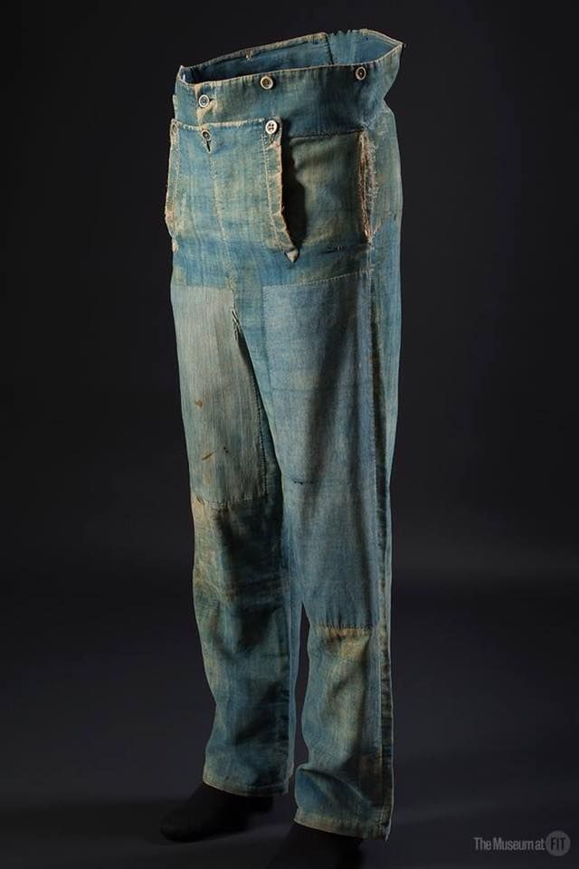 Men's work pants, denim and brushed cotton, circa 1840, USA. Museum at the Fashion Institute of Technology #DenimHistory http://www.fitnyc.edu/museum/exhibitions/denim.php