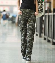 2015 Winter Womens Casual Loose Camouflage military multi-pocket Cargo pants Army Green Cotton Active Trousers(China (Mainland))