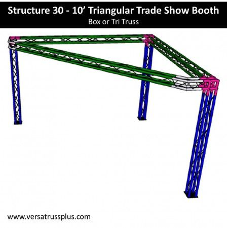10 triangular trade show booth kits. Our 10 triangular exhibit kit comes with all of the truss components and hardware to erect a complete 10 triangular display booth. Our lightweight aluminum truss 10 triangular booth kit is economical to purchase, designed for longevity and is completely modular in design allowing you to increase the size of your 10 triangular exhibit kit at any time.