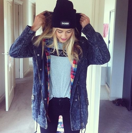 Layers - denim flannel and white tee | Grunge Style | Pinterest | Denim jackets Beanie and Tomboys