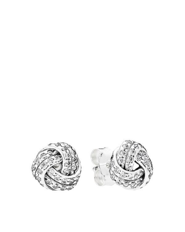 Pandora Stud Earrings - Sterling Silver & Cubic Zirconia Sparkling Love Knot