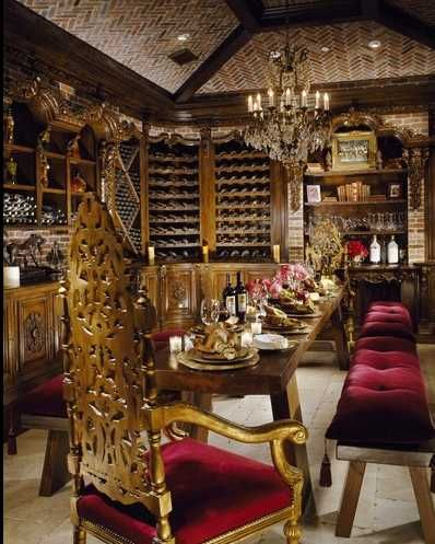 Who wouldn't want to drink wine in your own Gothic Italian Wine Cellar!
