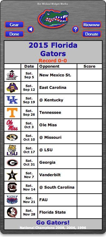 BACK OF WIDGET - Free 2015 Florida Gators Football Schedule Widget - Go Gators! - National Champions 2008, 2006, 1996 http://riowww.com/teamPages/Florida_Gators.htm