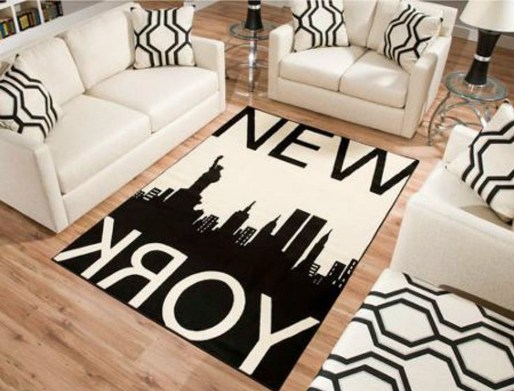Rectangle Rug New York Carpet Modern Design Living Room Area Black/White NEW*** #Contemporary