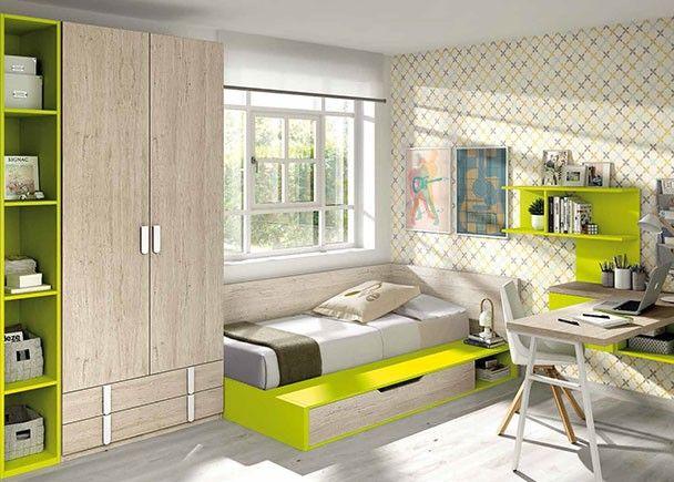 Dormitorio con canap de apertura vertical armario y zona for Muebles juveniles zona sur