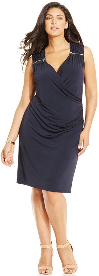 MICHAEL Michael Kors Plus Size Sleeveless Zipper-Trim Sheath Dress