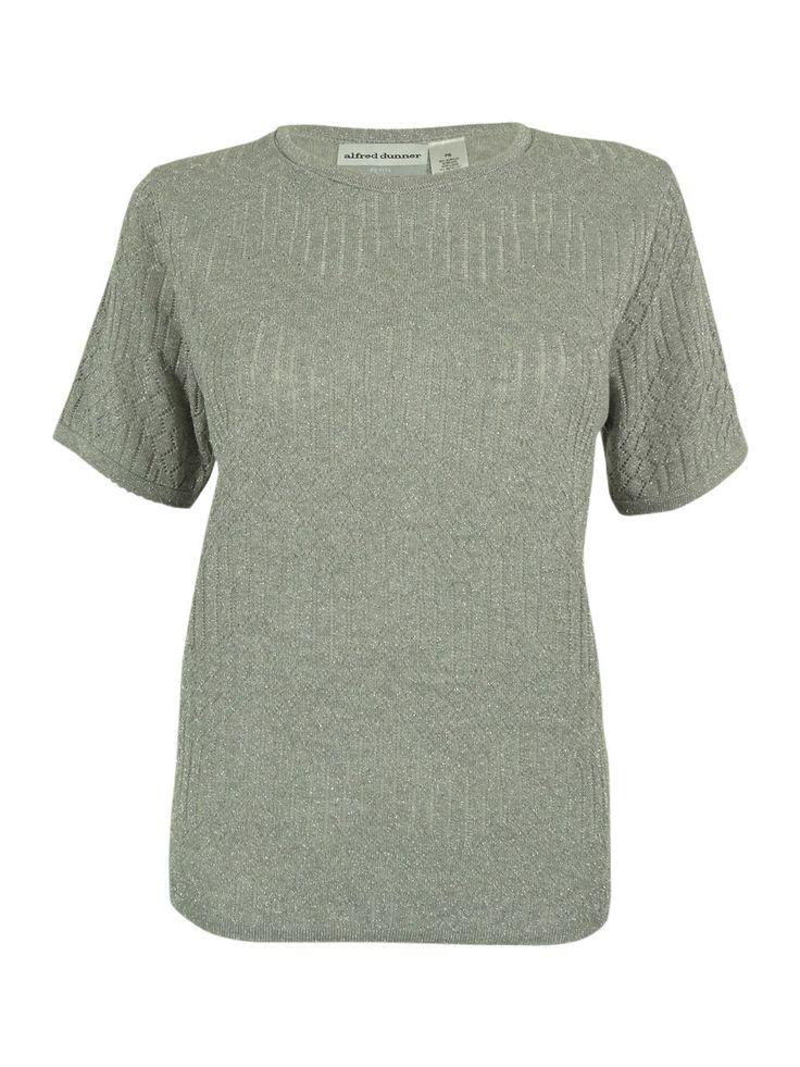 Alfred Dunner Women's Metallic Short Sleeve Top