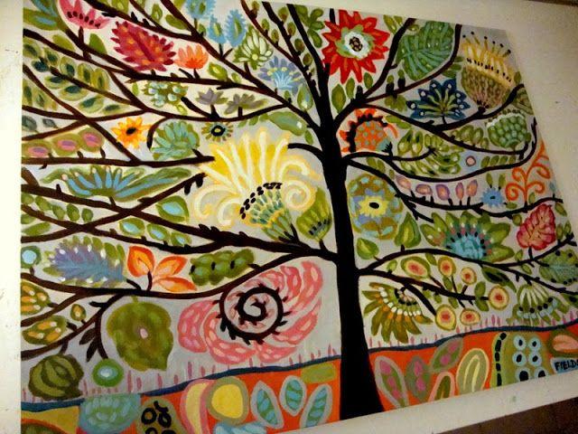 My Creative Life: Whimsical Flowering Tree Painting by Karen Fields