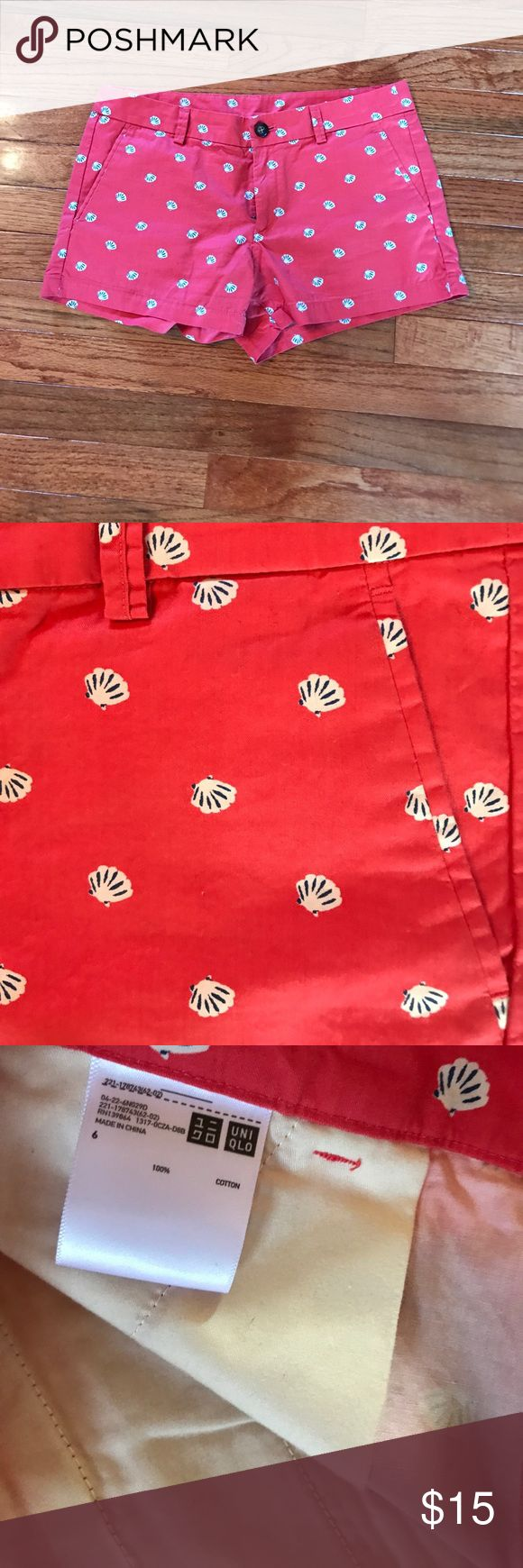 Final sale on Red shorts with white shells 100% cotton, never worn Uniqlo Shorts