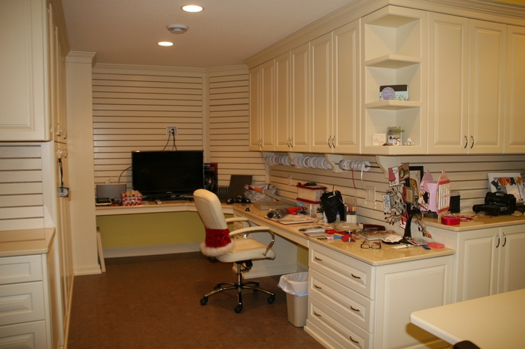 Papercrafting area; slat wall; ribbon holders; cork floors: Slats Wall, Ribbons Holders, Ribbon Holders, Crafts Rooms, Papercraft Area, Rooms Ideas, Corks Floors, Slat Wall