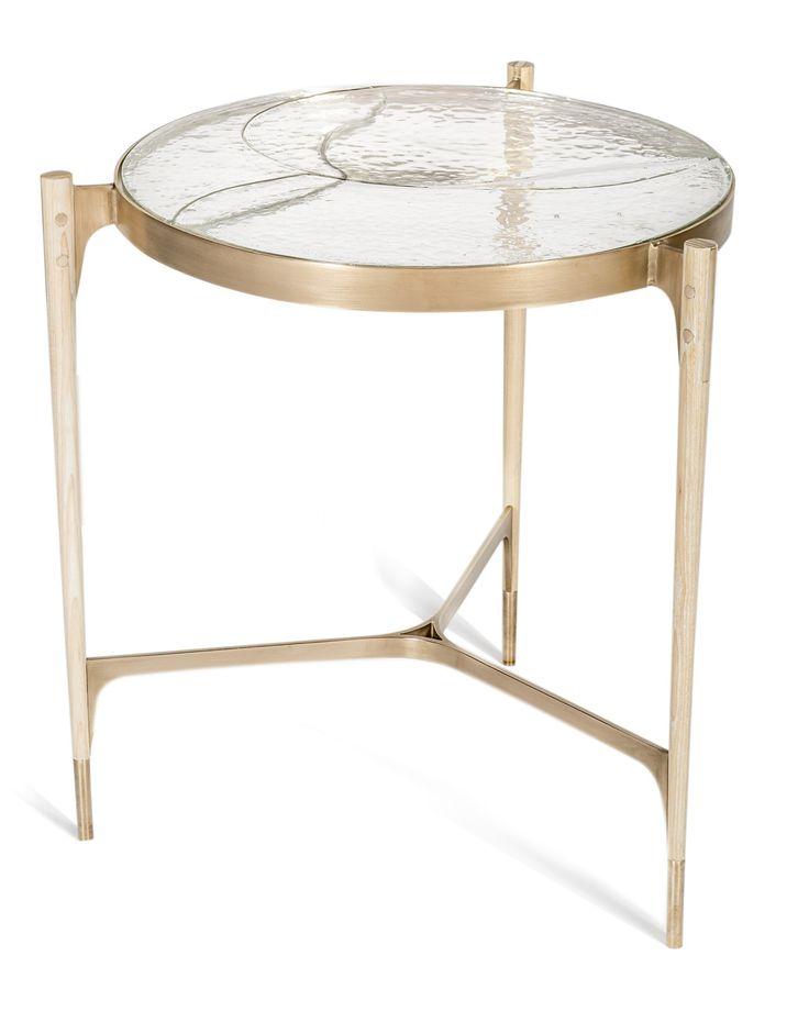 Stites Side Table MidCentury Modern, Rustic Folk, Glass, Metal, Wood, Side