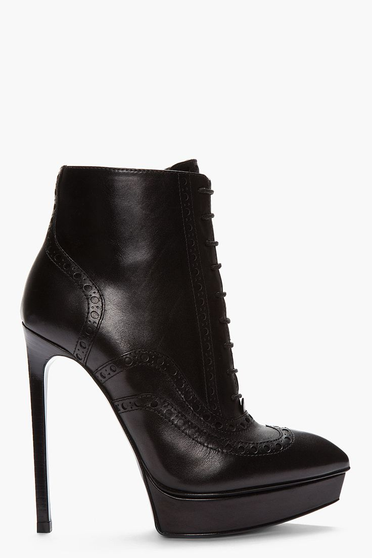 SAINT LAURENT Black leather brogued Oxford Janis Boots  // get in my closet